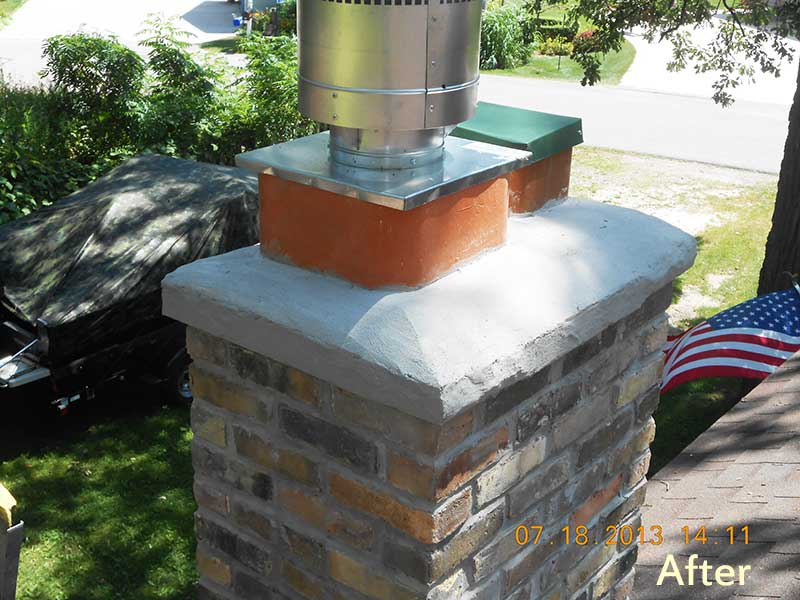 We Removed Existing Chimney Re Built With Block Installed Manufactured Stone And Cement Cap Also A New Lining System